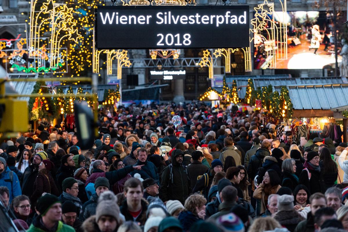 Der Rathausplatz beim Wiener Silvesterpfad 2018