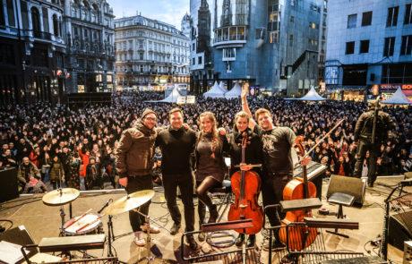 Eine Band auf dem Stephansplatz