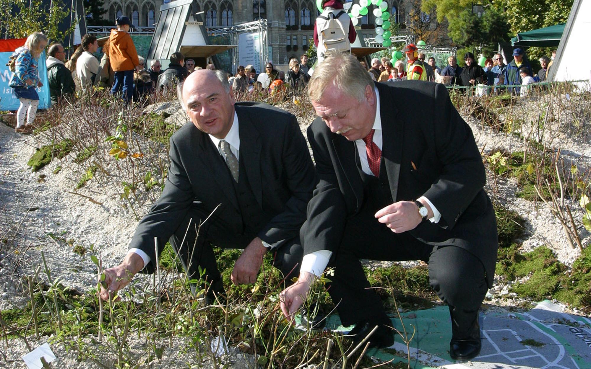 Bürgermeister Häupl und Landeshauptmann Pröll anlässlich einer Festveranstaltung