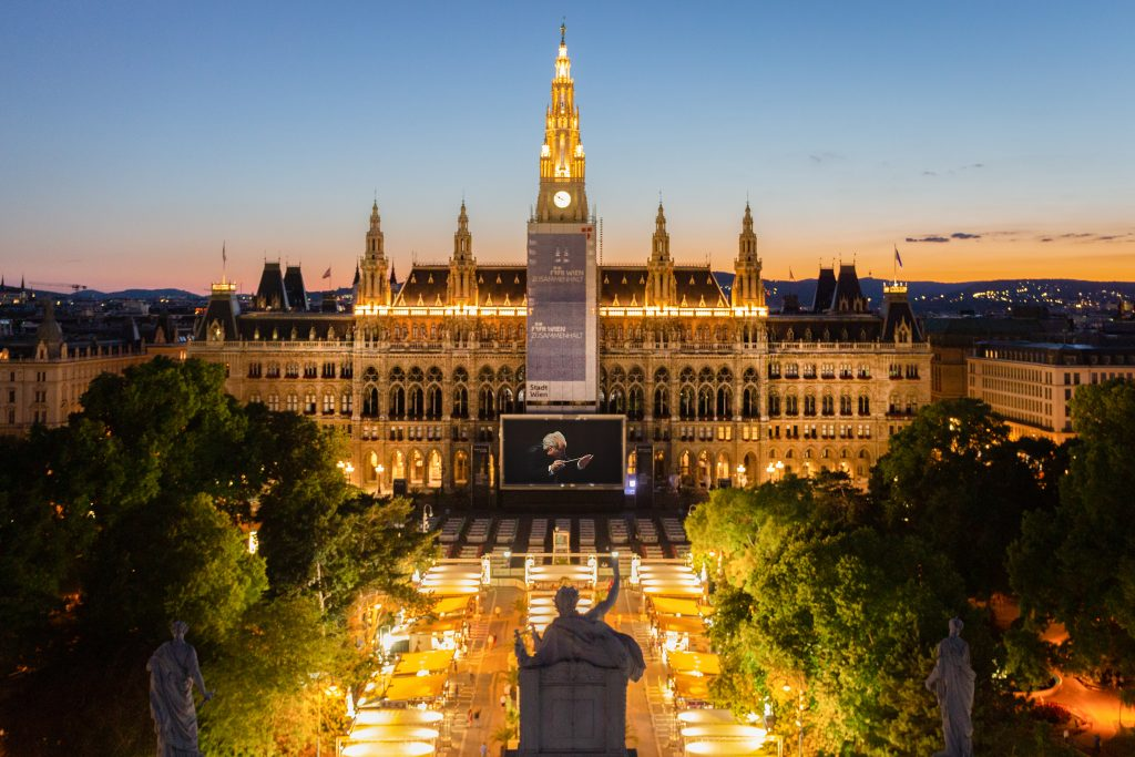 Das Wiener Rathaus von oben